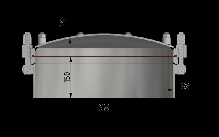 Schnittzeichnung Runder Druckverschluss ab 10/-1 bar