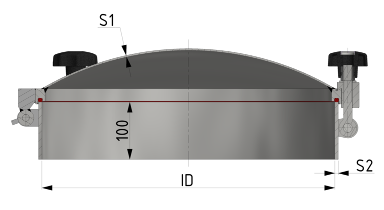 Schnittzeichnung 1-bar Verschluss bis 1/-1 bar
