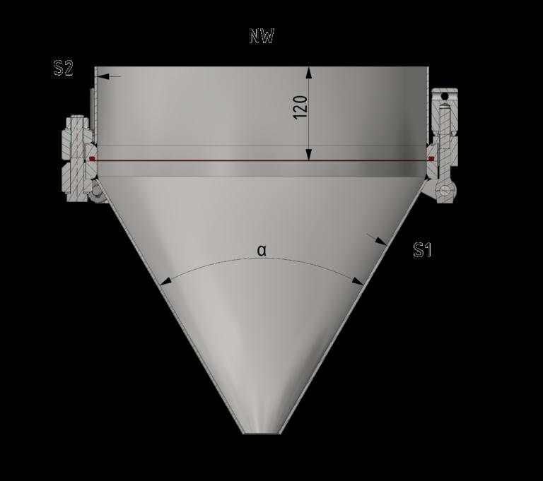 Schnittzeichnung Druck-Konusverschluss bis 6/-1 bar
