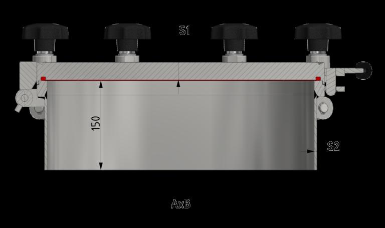 Schnittzeichnung Ovaler Druckverschluss bis 10/-1 bar