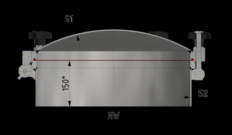 Schnittzeichnung Runder Druckverschluss bis 8/-1 bar