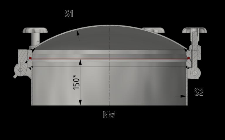 Schnittzeichnung Runder Druckverschluss bis 8/-1 bar, Typ RPDC-3A