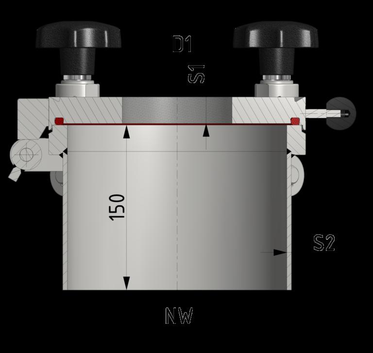 Schnittzeichnung Glas-Deckel mit Metaglas-Platte bis 12/-1 bar