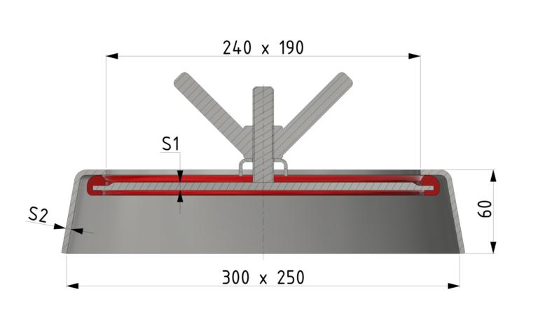 Schnittzeichnung Handloch-Verschluss 190x240