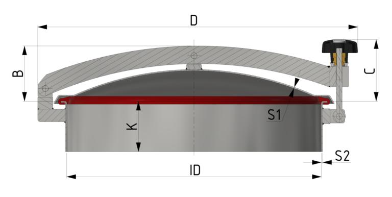 Schnittzeichnung Drucklose Domdeckel mit Zentralbügel und Profildichtung