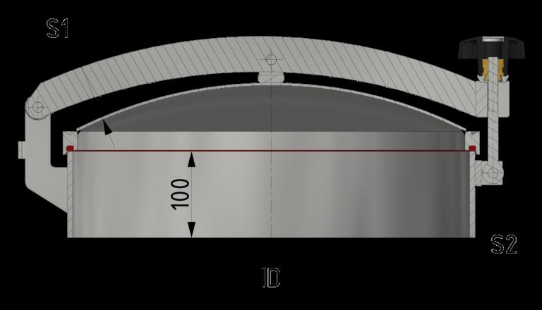 Schnittzeichnung Drucklose Domdeckel mit Zentralbügel und O-Ringdichtung