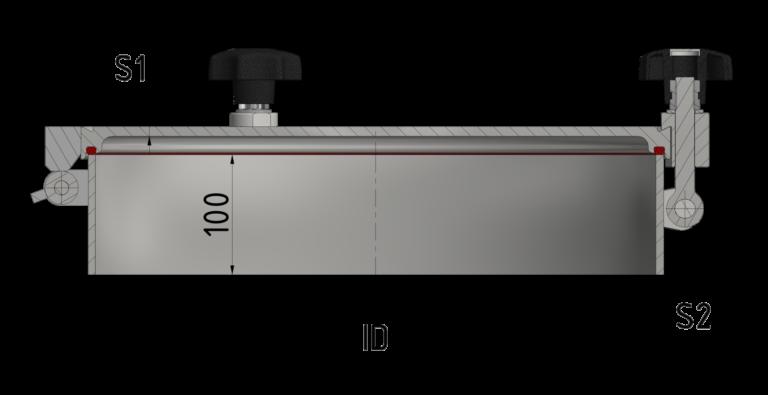 Schnittzeichnung 1-bar Verschluss mit flachem Deckel 1/-1 bar