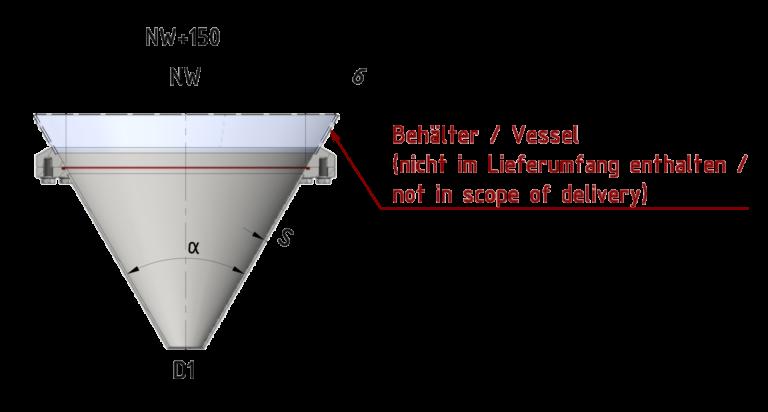 Schnittzeichnung Druck-Konusverschluss (komplett konisch) bis 6/-1 bar