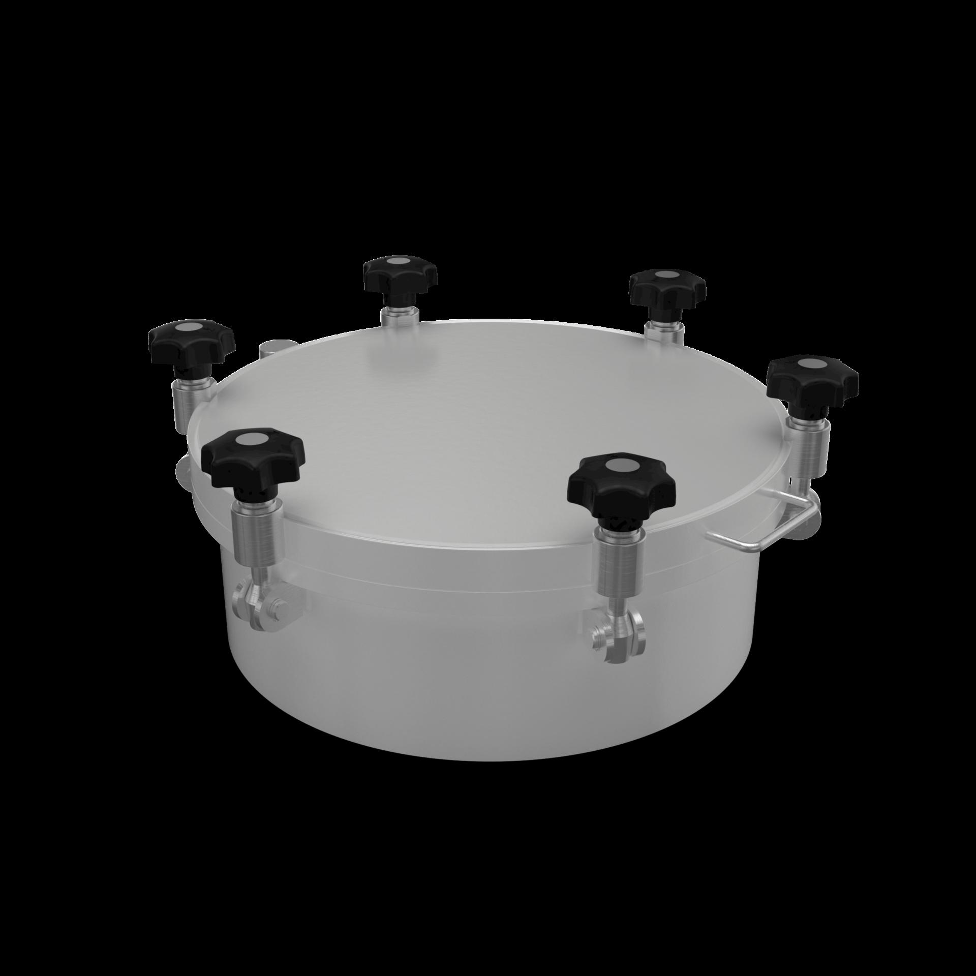 Runder Druckverschluss mit flachem Deckel bis 8/-1 bar