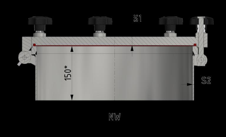 Schnittzeichnung Runder Druckverschluss mit flachem Deckel bis 8/-1 bar